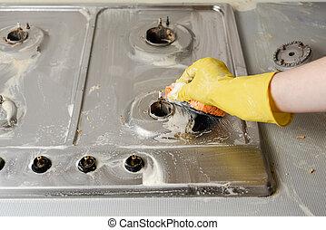 queimador, fogão, gás, luva, mão, borracha, lavagem, amarela