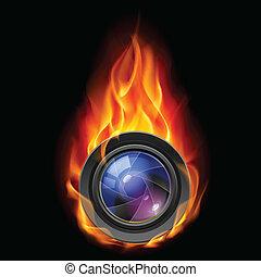 queimadura, a, lente câmera