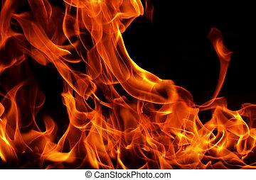 queimadura, chama