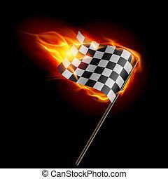 queimadura, checkered, correndo bandeira