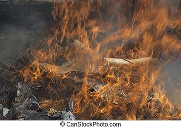 queimadura, dump lixo
