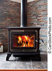 queimadura, fogão, aquecimento, lançar, madeira, ferro