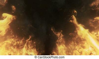 queimadura, fogo, grande, chamas, volta