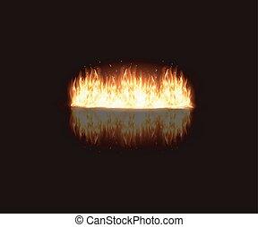 queimadura, fogo, ilustração, chama, fundo, pretas