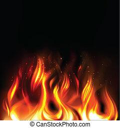 queimadura, fogo, ilustração, experiência preta, vividamente