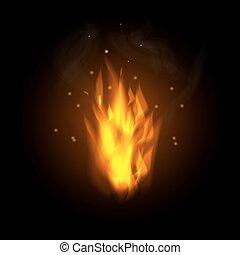 queimadura, fogo, ilustração, vetorial, chama, fundo, pretas