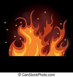 queimadura, fogo, ilustração, vetorial, experiência preta