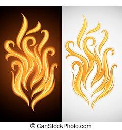 queimadura, fogo, símbolo, amarela, quentes, chama