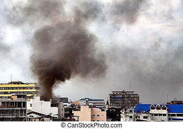 queimadura, fogo, sobre, comercial, fumaça preta, edifício.