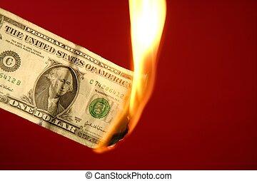 queimadura, fogo, sobre, dólar, nota, vermelho