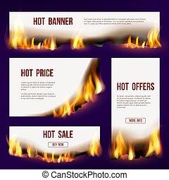 queimadura, fogo, texto, vendas, projeto, vetorial, desenho, modelo, bandeiras, flame., língua, advertizing
