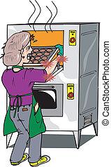 queimadura, forno