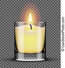 queimadura, jarro, isolado, vidro, fundo, vela, transparente