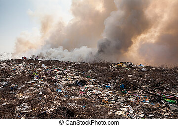 queimadura, lixo, montão, fumaça