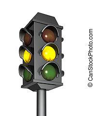 queimadura, luz, sinal, amarela, tráfego, 3d