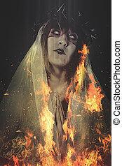 queimadura, mulher, religião, conceito