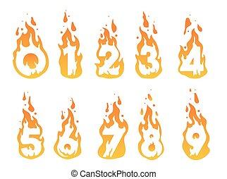 queimadura, números, ilustração