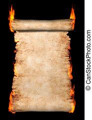queimadura, rolo, de, pergaminho