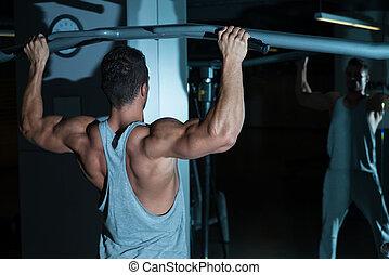 queixo, costas, exercício, ups