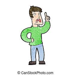 queja, caricatura, hombre