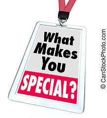 quel, écusson, différent, personne, vous, unique, marques, spécial