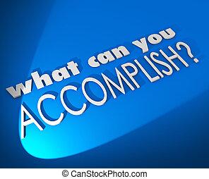 quel, accomplir, but, métier, boîte, mots, objectif, vous,...