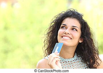 quel, achat, acheteur, pensée, carte de débit
