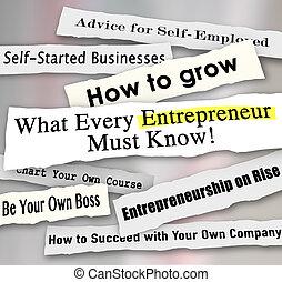 quel, business, déchiré, entrepreneur, papier, chaque, perso, gros titres