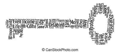 quel, est, incapacité, assurance, texte, fond, mot, nuage, concept
