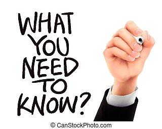 quel, main écrite, savoir, besoin, vous, 3d