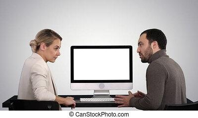 quel, moniteur, professionnels, gradient, écran, sur, conversation, informatique, arrière-plan., réunion, avoir, autour de