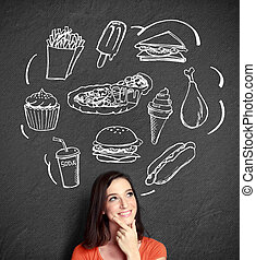 quel, pensée femme, haut, regarder, manger