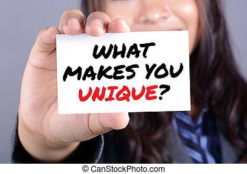 quel, unique?, femme affaires, montré, message, marques,...