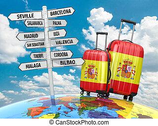 quel, valises, poteau indicateur, concept, visite, voyage,...