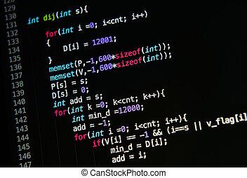 quelle, code, computersprache
