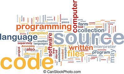 quelle, code, hintergrund, begriff