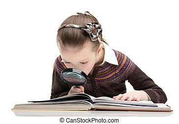 quelque chose, étudier, magnifier, aide, verre