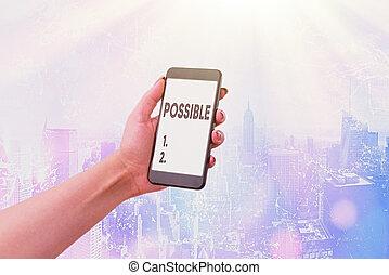 quelque chose, concept, business, texte, mot, possible., happen, mais, pas, certain., écriture, boîte, mai, exister