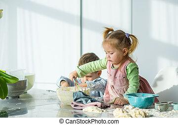 quelque chose, dough., cuisine, deux enfants