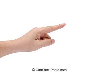quelque chose, femme, isolé, pointage, main