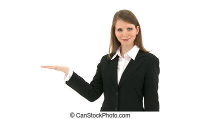 quelque chose, femme, présentation, elle, main