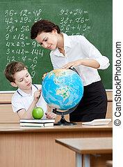 quelque chose, globe, pupille, spectacles, prof, géographie