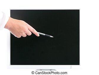 quelque chose, isolé, -, informatique, stylo, projection, moniteur, main
