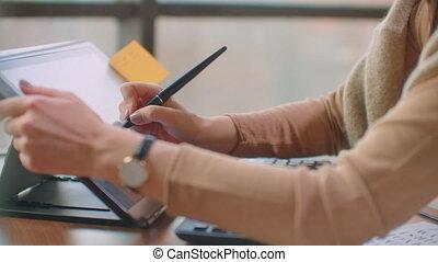 quelque chose, tablette, artiste, dessin, graphique, bureau