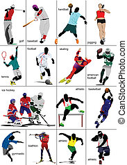 quelques-uns, genres, de, sports., collection.