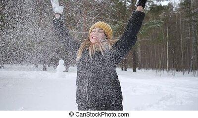 quelques-uns, lancement, saison, femme, lent, motion., neige, air, froid, apprécier