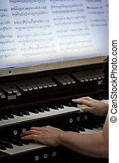 quelqu'un, jouer, orgue, mains
