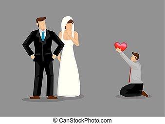 quelqu'un, proposé, else's, illustration, mariée, vecteur, dessin animé, homme