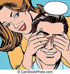 quem, é, mulher, fechado, dela, olhos, homem, surpresa
