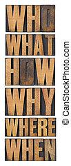 quem, que, como, porque, onde, quando, perguntas, -, brainstorming, ou, fazer decisão, conceito, -, um, colagem, de, isolado, palavras, em, vindima, letterpress, madeira, tipo, organizado, em, um, alto, coluna